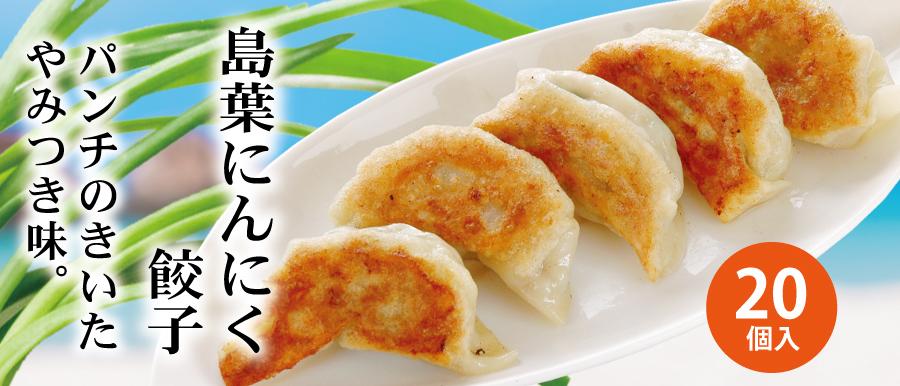 島葉にんにく餃子。沖縄県産島にんにくの葉っぱを使用したパンチのきいた餃子